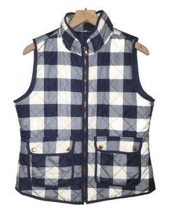 Artisan NY Womens Plaid Puff Vest Zip Up Blue M